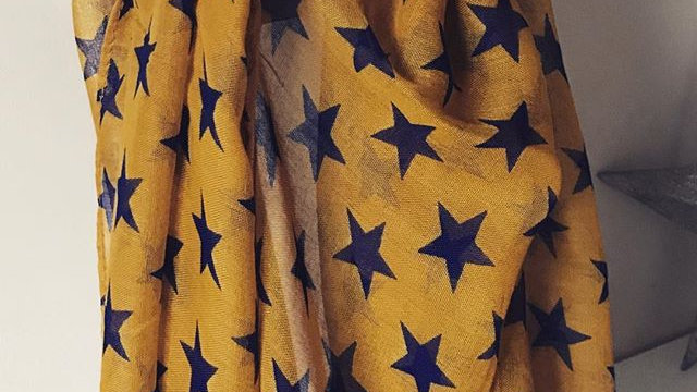 Mustard Simple Stars Super Soft Scarf