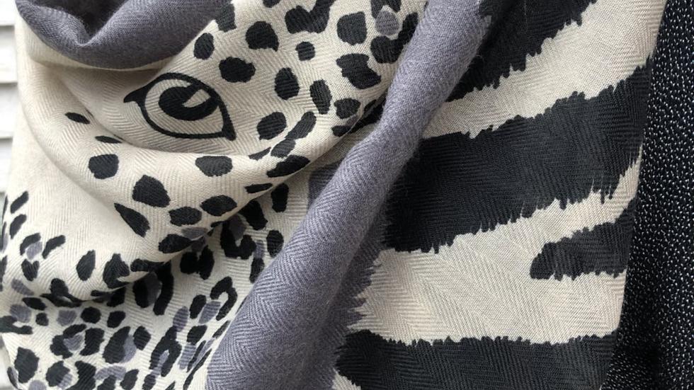Dark Grey Leopard Design Super Soft Scarf