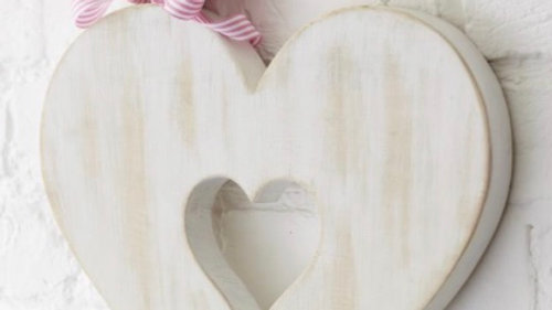 Distressed White Open Heart in a Heart