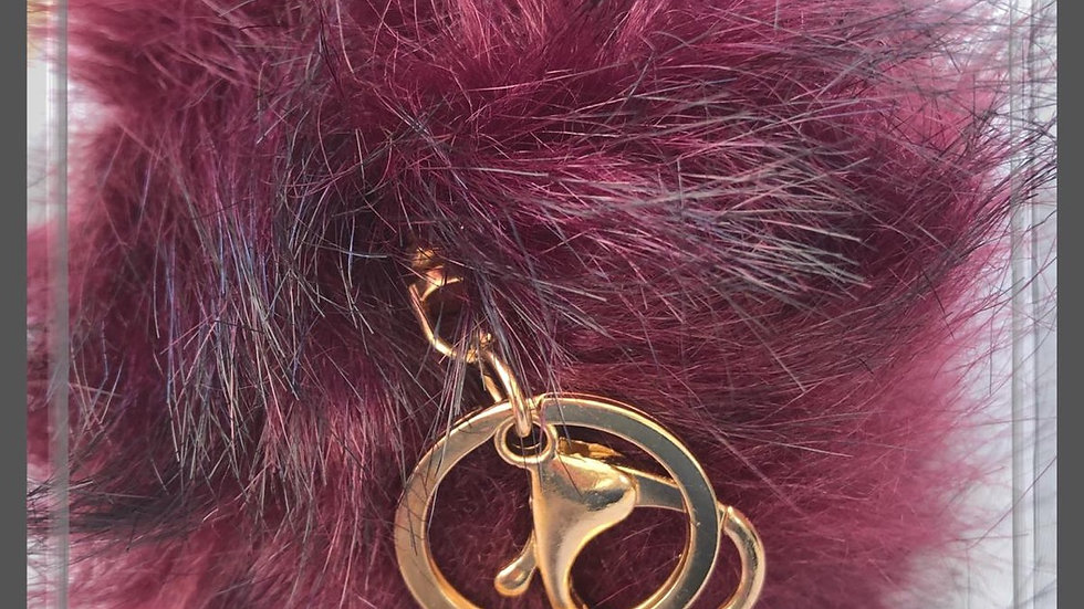 Fluffy Maroon Pom Pom Keyring/Bag Charm