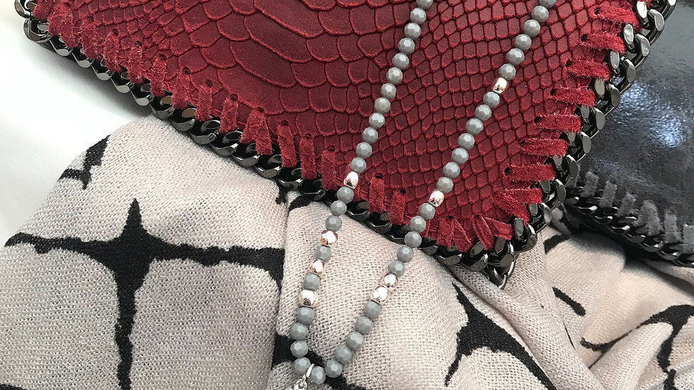 Real Leather Red Snakeskin Stella McCartney Inspired Chain Clutch Bag