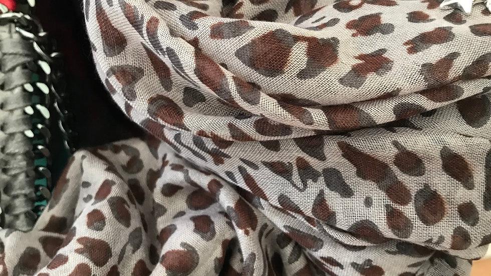 Grey & Burgundy Small Leopard Print Scarf