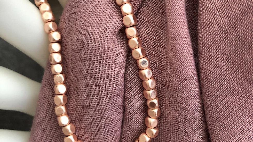 Matt Rose Gold Stretch Beaded Bracelet With Star & Heart