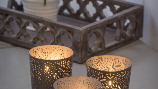 Set of 3 Metal Tealights
