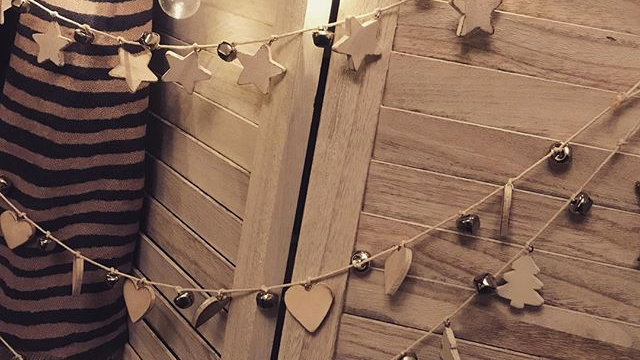 Wooden Bell Garland in Hearts or Stars