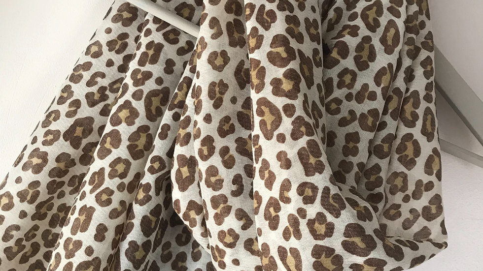 Cream Leopard Print Super Soft Scarf
