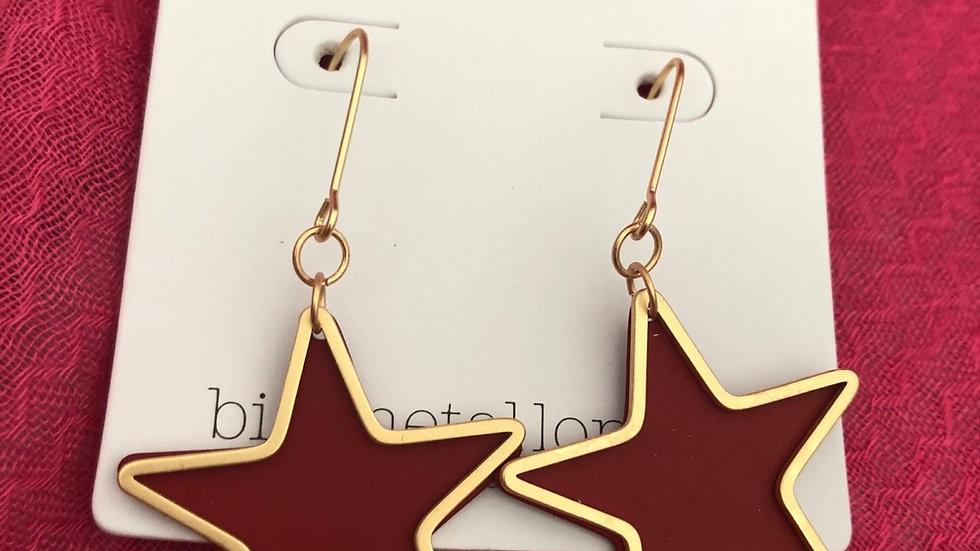 Red Resin Star Earrings