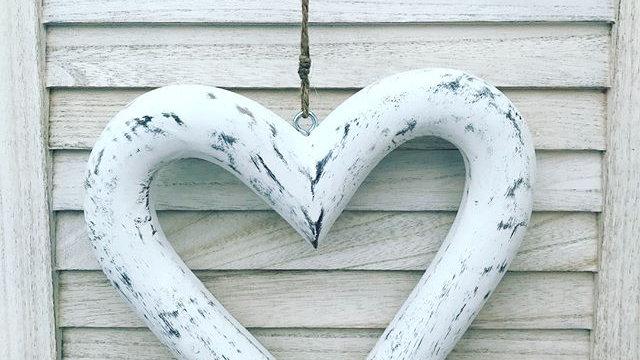 Large Distressed White Wood Hanging Heart