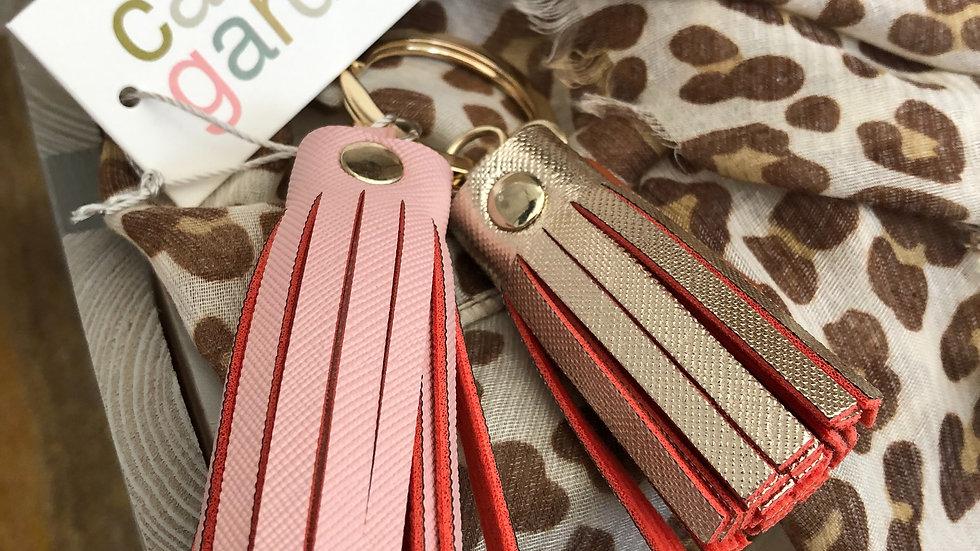 Caroline Gardner Pink & Gold Double Tassel Keyring