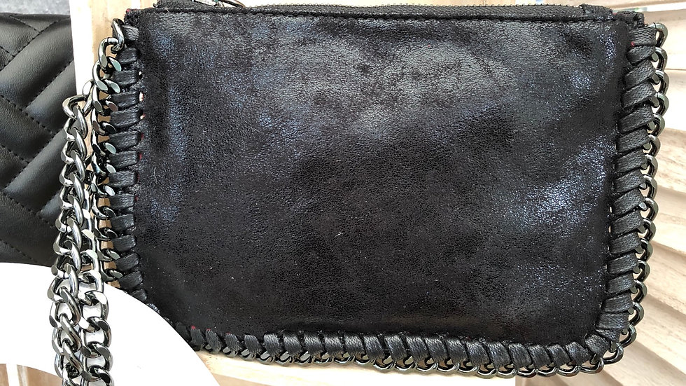 Black Clutch Purse with Wrist Chain