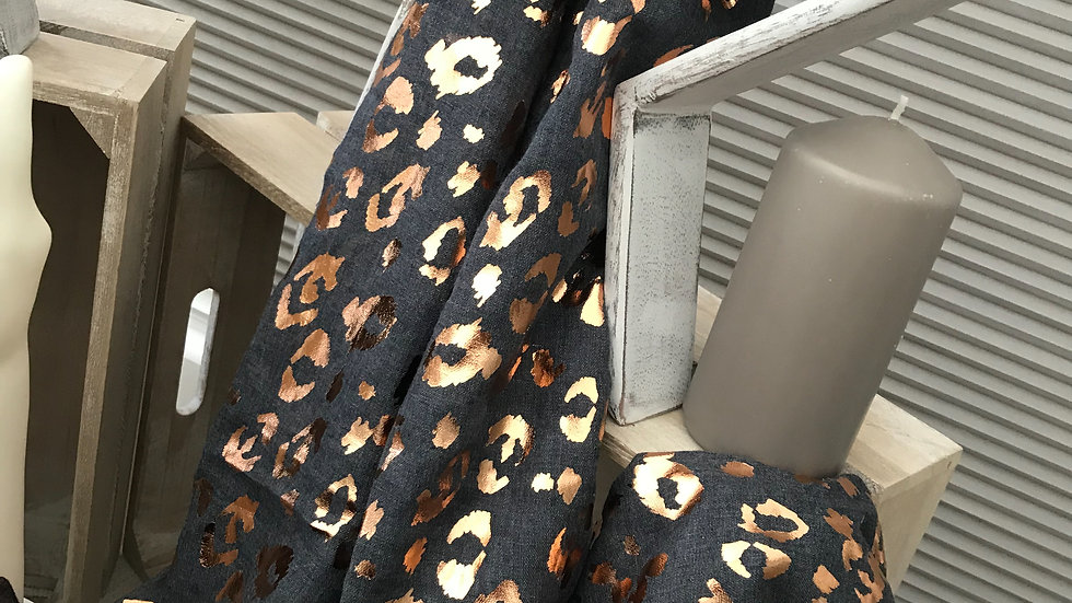 Navy & Rose Gold Leopard Print Scarf