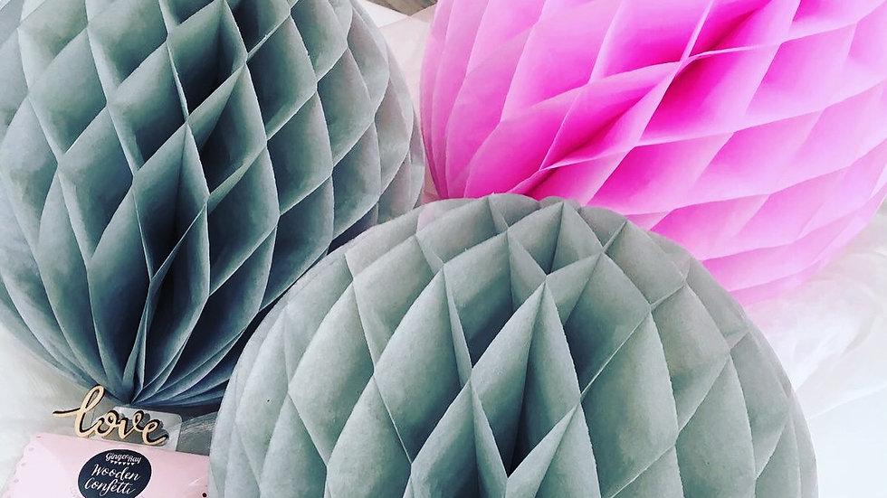 Three Pack of Pink & Grey Honeycomb Balls