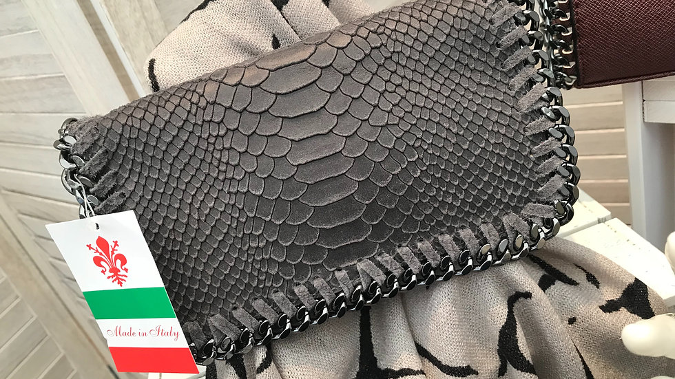 Dark Grey Leather Stella McCartney Inspired Snakeskin Chain Bag