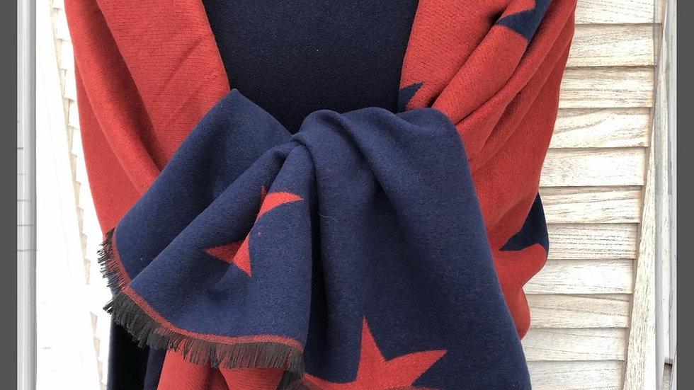 Reversible Burnt Orange & Navy Stars Scarf/Wrap