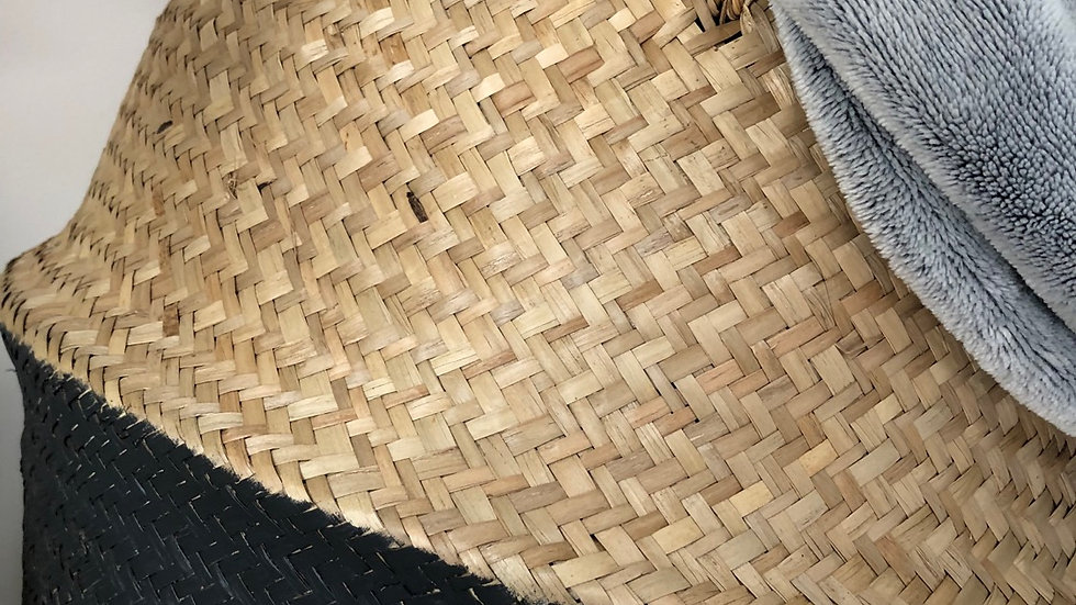 Handmade Dipped Grey Seagrass Basket