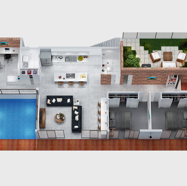 3D floor plan - marketing floor plan produced for a building company