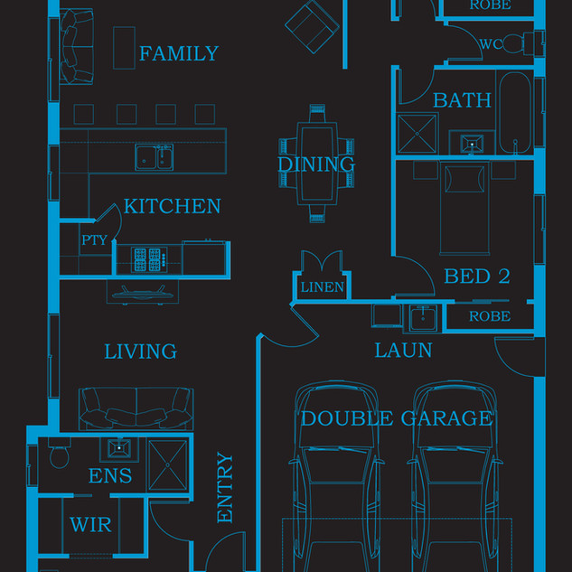 2D Floor plan for a building companies brochures and marketing. The companies entire home range have been produced in this style of 2D floor plan - Alpine Homes Queensland