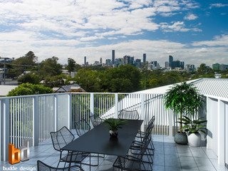 3D Photomontage rooftop balcony render, actual city views used in image