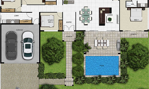 2D marketing image floor plan residential house