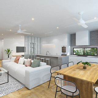 3D Rendering Residence 1 kitchen/living/dining Burleigh Waters, Gold Coast QLD
