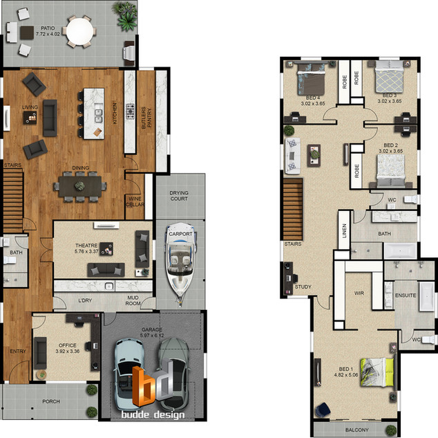 2d colour floor plan 2 level house, 4 bedroom + study by Budde Design