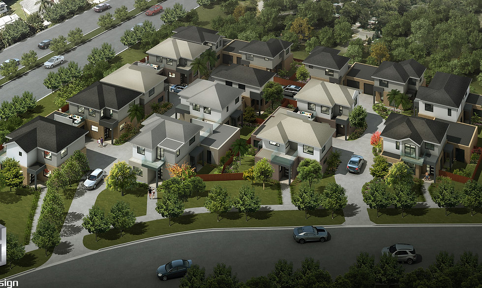 3D Rendering Melbourne birds eye view render for a 15 unit development - Springvale Victoria - 3D Rendering Vic
