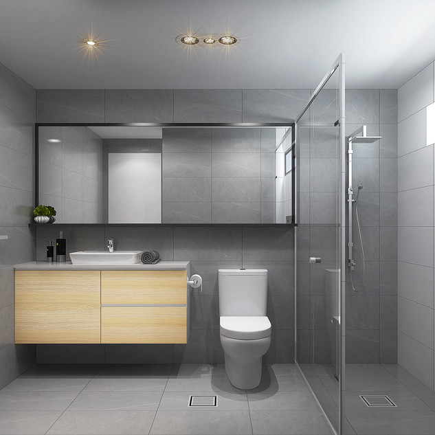 3D Bathroom Render for a development project by Budde Design