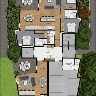 2D colour site plan for a development project Brisbane