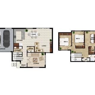 2D colour floor plan Unit3 for a development project - Burwood East Victoria