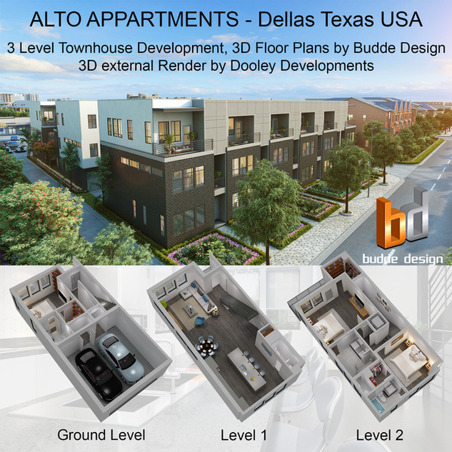 3D floor plan for a 3 level townhouse development. Dellas Texas USA by Budde Design