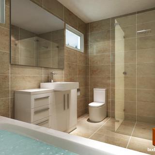 3D bathroom render - Kew Victoria by Budde Design