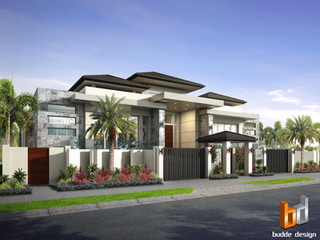 3D external Render for a luxury canal frontage home in Sanctuary Cove QLD