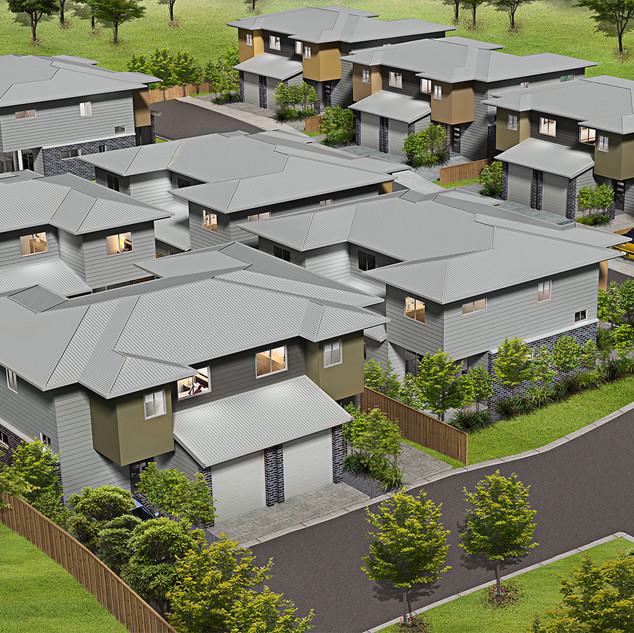 3D birds eye view Artist Impression Development project - Park Ridge QLD
