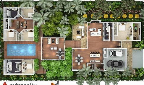 3D Rendered floor plan overead Sumatra