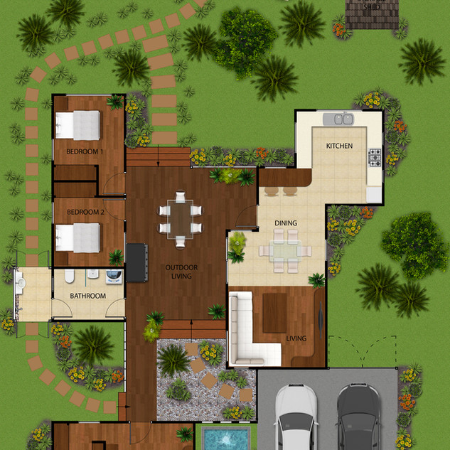 2D colour floor plan for a building company - Darwin NT