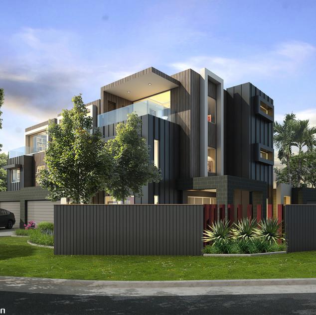 3D external render for a 3 townhouse development project - Avanti St Mermaid Waters QLD