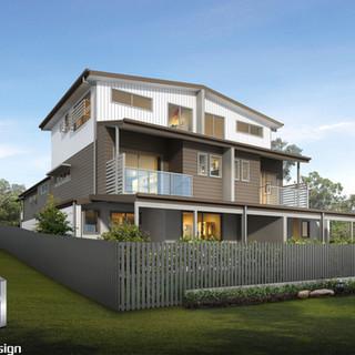 3D Rendering rear viewpoint 4 townhouse development Hedley Ave, Nundah QLD
