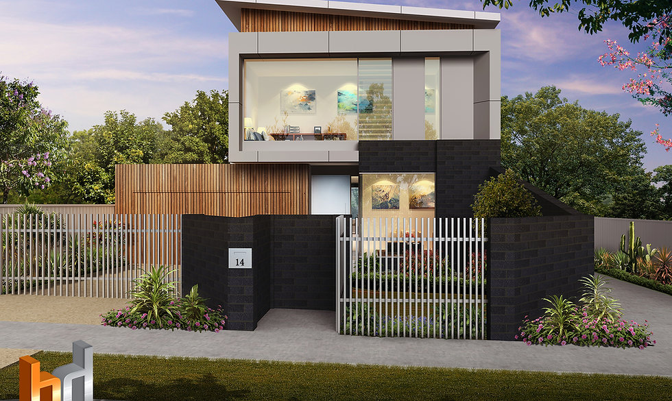 External 3D rendering Melbourne, 3 Bedroom 2 level townhouse, image used for real estate marketing - 3D rendering Victoria - Strathmore