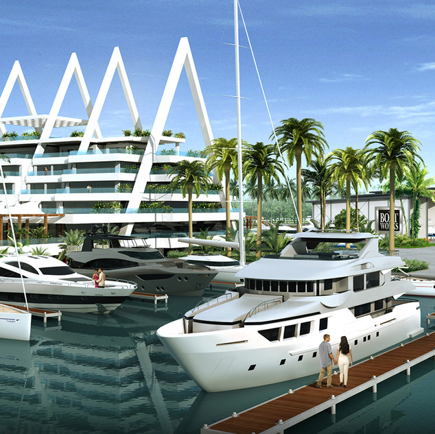 3D Rendering Boat Works Boat Marina, Coomera, Gold Coast QLD