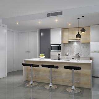 3D kitchen render, development project - Alderly QLD by Budde Design