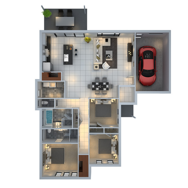 3D floor plan unit5 for a building company - Mudgee NSW