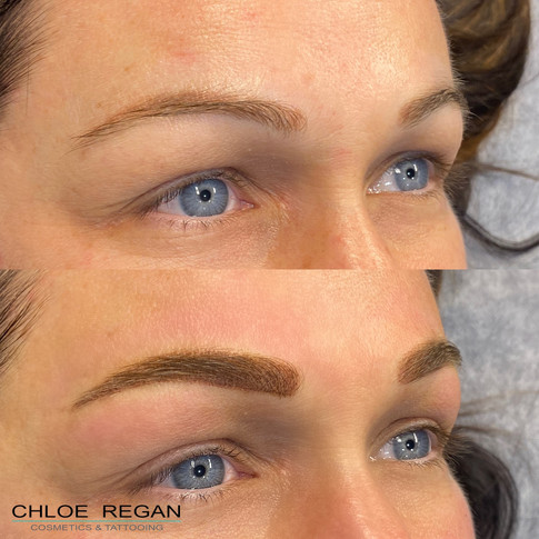 Powder brows before and after by Chloe Regan