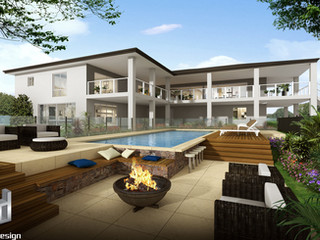 3D external render, outdoor living and pool area - Yandina QLD