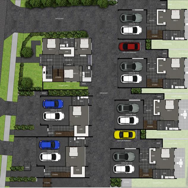 2D colour floor plan / site plan for a multi unit multi level development