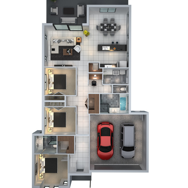3D floor plan unit1 for a building company - Mudgee NSW