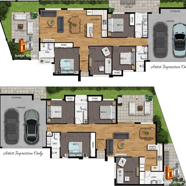 2D colour floor plans for a unit development