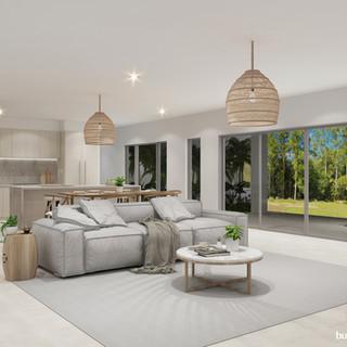 3D internal living and kitchen render