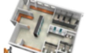 3D Rendered floor plan commercial toilets