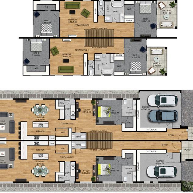 2D Colour floor plan and site plan, 3 bedroom 2 level Duplex townhouses - Strathmore Victoria
