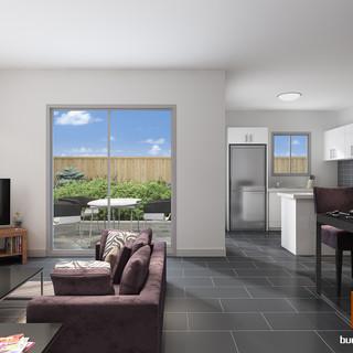 3D internal living/kitchen render - Park Ridge QLD